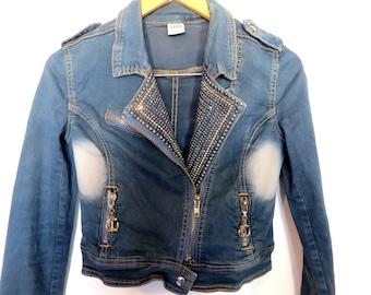 Jeans Jacket 90s studded denim jacket vintage 1990s women jeans jacket 90s acid wash Rhinestone jean jacket faded jean jacket nautical jean
