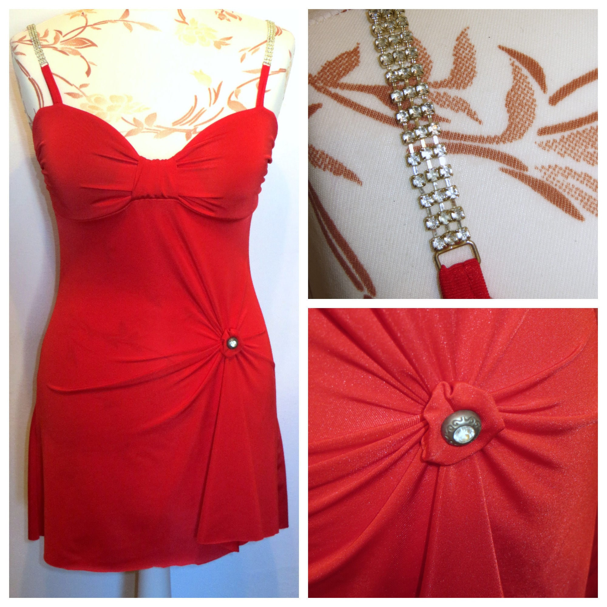 bb5f3a814210e6 Hot red corset Push up Bra with swarovksi straps Red Top Tunic