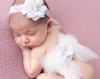 Baby girl angel wings with lace headband