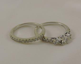 14k white gold Diamond Bridal Set. Size 8.  Engagement ring and wedding band
