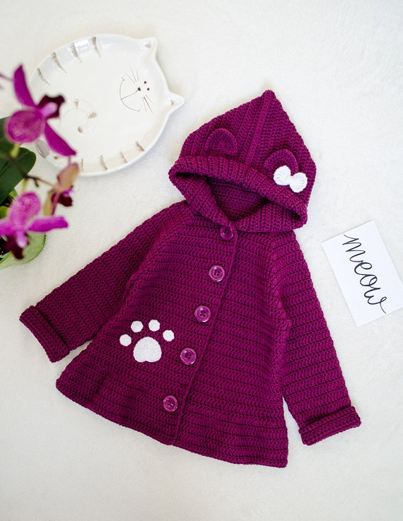 40ac26066 Crochet cat ears cardigan with hoodie Cute wooly outerwear for