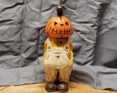 Wood Carving - Wooden Pumpkin Head Man Carving Large Hand Carved and Painted Halloween Decor By Joinershandcrafted