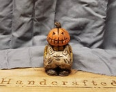 Wood Carving - Wooden Pumpkin Head Man Carving Hand Carved and Painted Halloween Decor By Joinershandcrafted