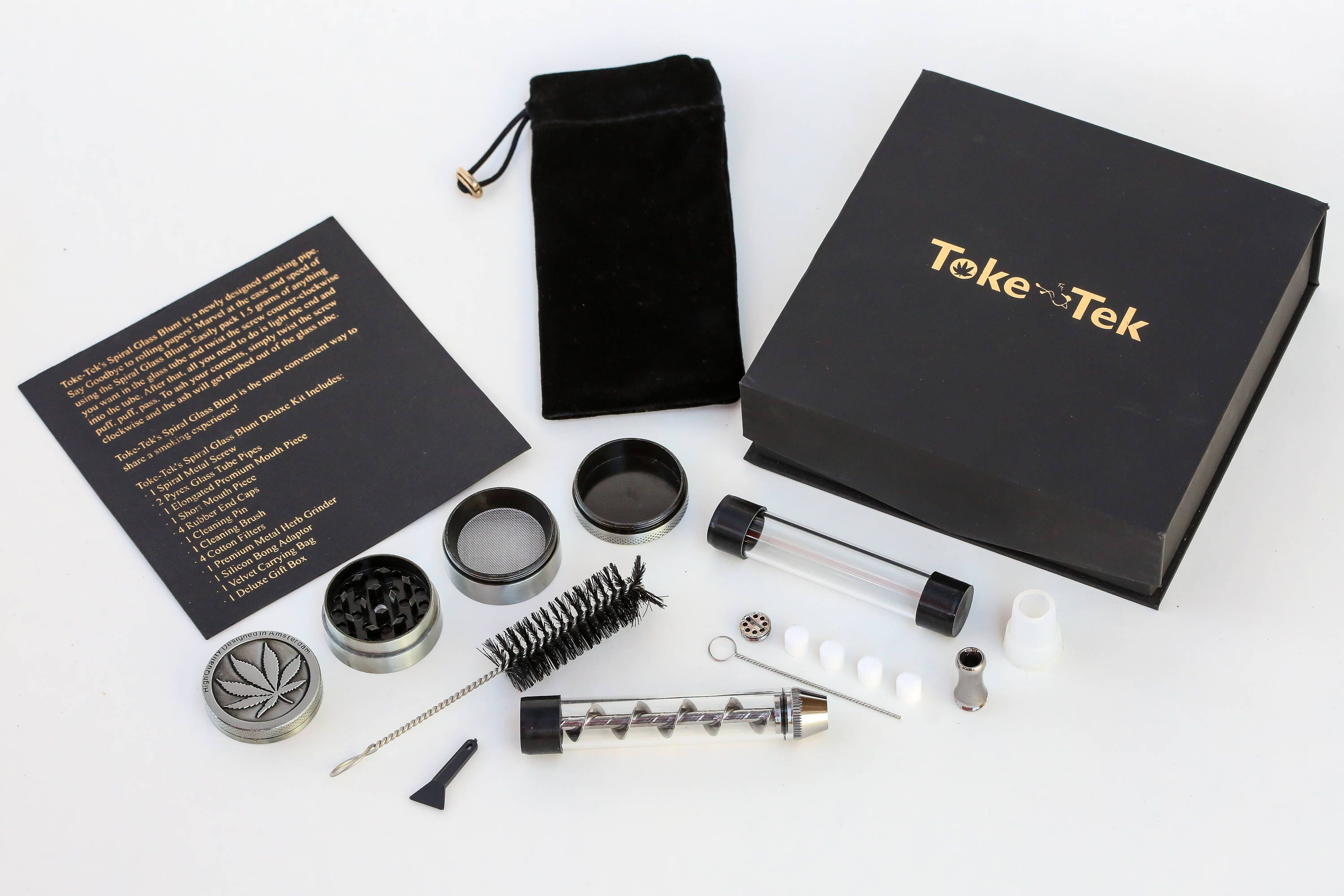 Twisty Glass Blunt Deluxe Combo Kit  Includes Herb Grinder, Spare Tubes,  Filtered Mouthpiece, Carrying Case, and Gift Box  Highest Quality