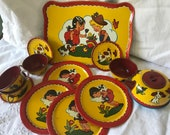 Darling Ohio Art Tin Litho Toy Tea Set quot Boy And Girl In A Garden quot Number 173