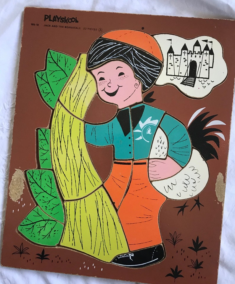 Vintage Wooden Playskool Fairy Tale Puzzle Jack And The Beanstalk