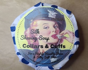 Shaving Soap - Collars and Cuffs - Wet Shave, Cold Process Soap, Shave Soap Bar, Raw Silk