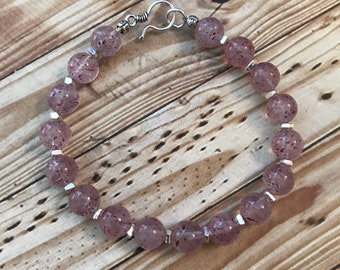 AAA Strawberry Quartz and Fine/Sterling Silver Bracelet - Free U.S. Shipping
