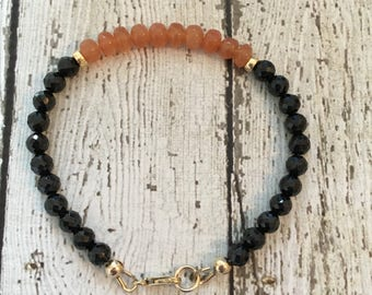 Peach Moonstone, Spinel and 14k Gold Fill Bracelet - Free U.S. Shipping