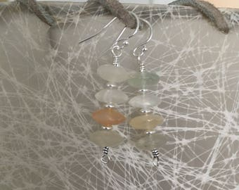 Peach, Gray and Ivory Moonstone Sterling Silver Earrings - Free U.S. Shipping