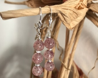 AAA Strawberry Quartz and Fine/Sterling Silver Earrings - Free U.S. Shipping