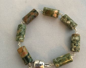 Jasper and Sterling Silver Bracelet - Free U.S. Shipping