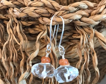 Clear Quartz, Orange Peach Moonstone and Sterling Silver Earrings - Free U.S. Shipping