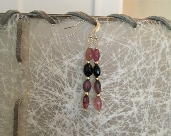 Tourmaline and 14k Gold Fill Earrings - Free U.S. Shipping