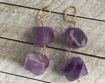 Chunky Amethyst and 14k Gold Fill Earrings - Free U.S. Shipping