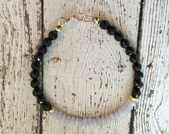 Blue Lace Agate, Spinel and 14k Gold Fill Bracelet - Free U.S. Shipping