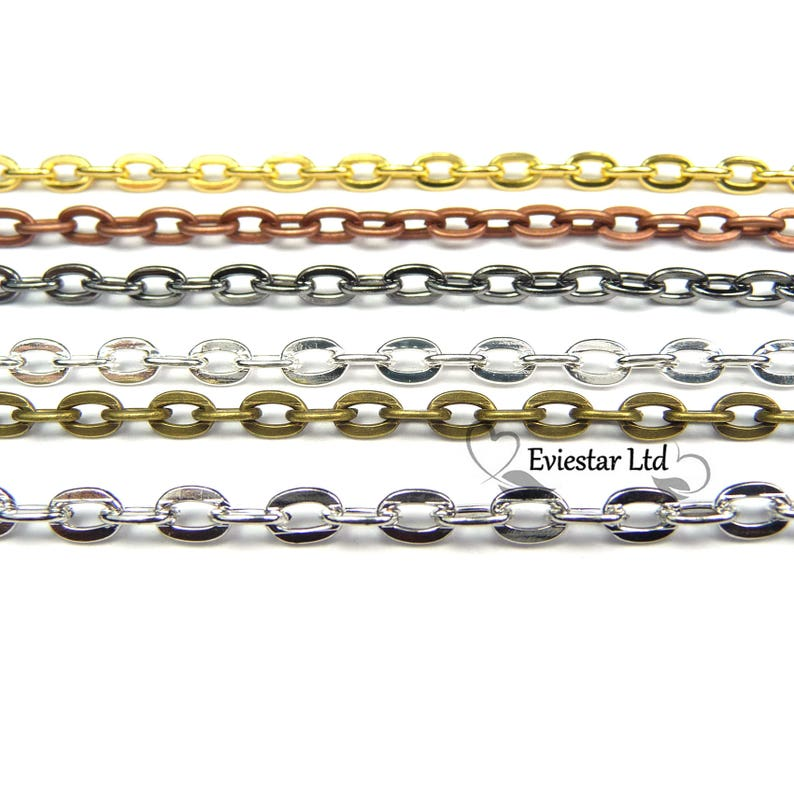 4 Colors Fine Metal Chain Cable Oval Link Jewellery Making Chain Finding 3 X 2mm