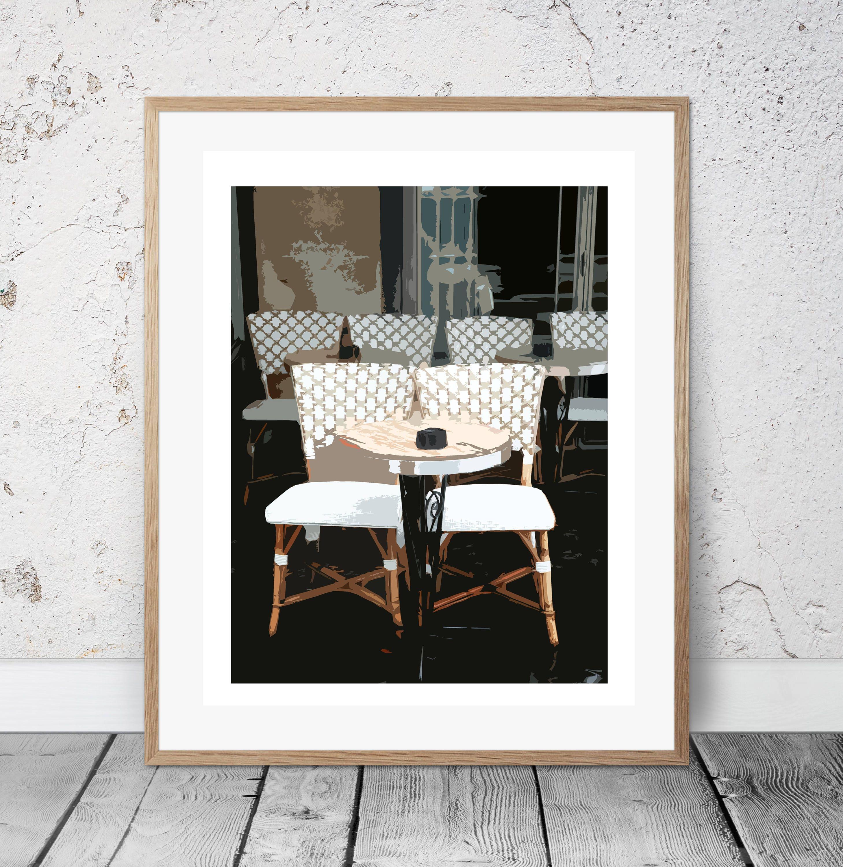 Paris Cafe Chairs Wall Art, Digital Download, Paris Digital Print, Art U0026  Collectibles, Paris Café Chair, Home Decor, Abstract, Contemporary,