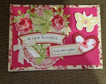 Valentine Card/Handmade/3D/Dark Pink Background over Vintage Pink Flowers/Pink Roses/Gold Butterfly/Pink Heart/Two Sentiments