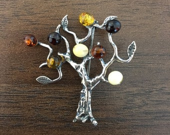Tree of Life Amber Brooch from Germany
