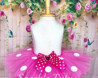 Minnie Mouse Inspired Tutu, Hot Pink Tutu, Minnie Mouse Tutu, Girls Tutu, Birthday Tutu, First Birthday, Baby Tutu, Costume Tutu