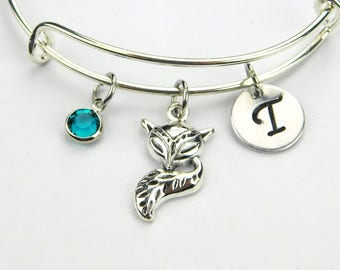 Fox Bracelet,  Fox Jewelry, Initial Bangle Bracelet, Personalized Fox Charm Bracelet, Birthstone, Christmas Gift for Fox Lover, Gift For Her