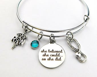 Nurse Bracelet, RN Bracelet, She Believed She Could, Personalized Keychain, Medical Charm Bracelet, Graduation Nurse Gift, Bangle Bracelet