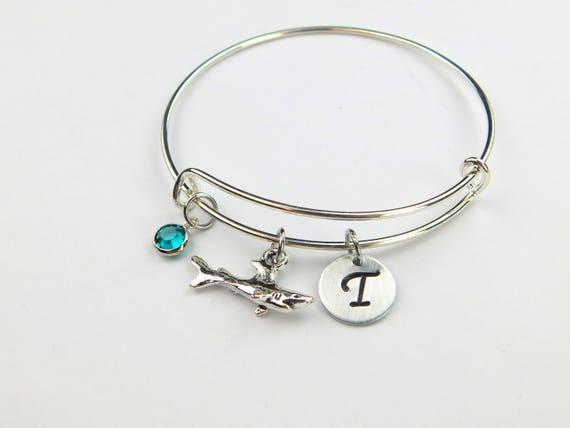Shark heart initial charm bracelet shark gift shark bangle letter personalised shark bracelet shark jewelry