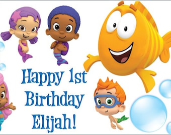 Custom Vinyl Bubble Guppies Birthday Party Banner Decorations with Child's Name