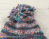 Hand Knit Baby Toddler Hat, Purple, Multi-colored, Beanie, Pom Pom