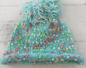 Hand Knit Baby Toddler Hat, Turquoise, Beanie, Pom Pom