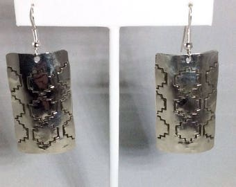 Sterling Silver Navajo Native American Signed Southwestern Dangle Earrings