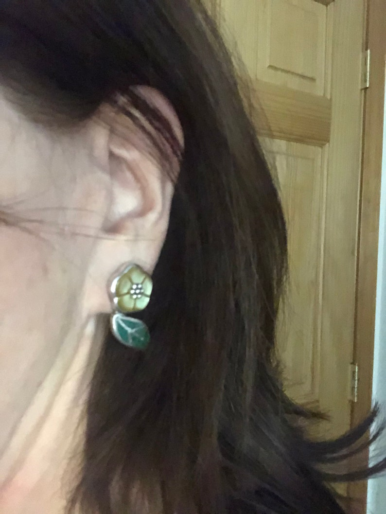 Yellow Mother-of-pearl and Chrysocolla Sterling Silver Earrings Southwestern