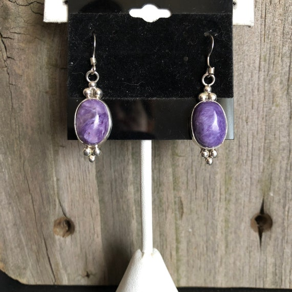 Native American Sterling and Charoite Earrings