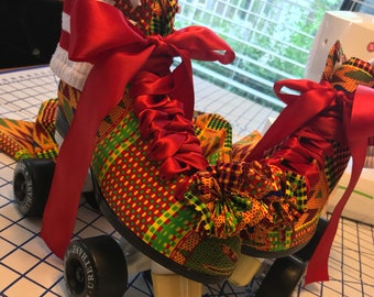 African Fabric Customized Roller Skates