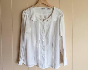 Vintage romantic blouse, cream off white blouse, embroidered blouse, collared blouse, sailor collar blouse, pleated blouse, feminine blouse