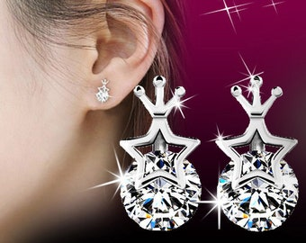 New Crown Shaped Rhinestones Jewelry Wedding Birthday Party Earrings Gift-e18