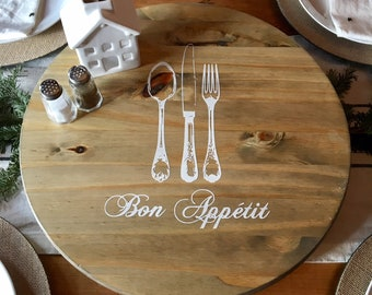 "Farmhouse Lazy Susan ""Bon Appetit"" - Rustic Farmhouse Style - Wood Lazy Susan - 18"" - READY TO SHIP"