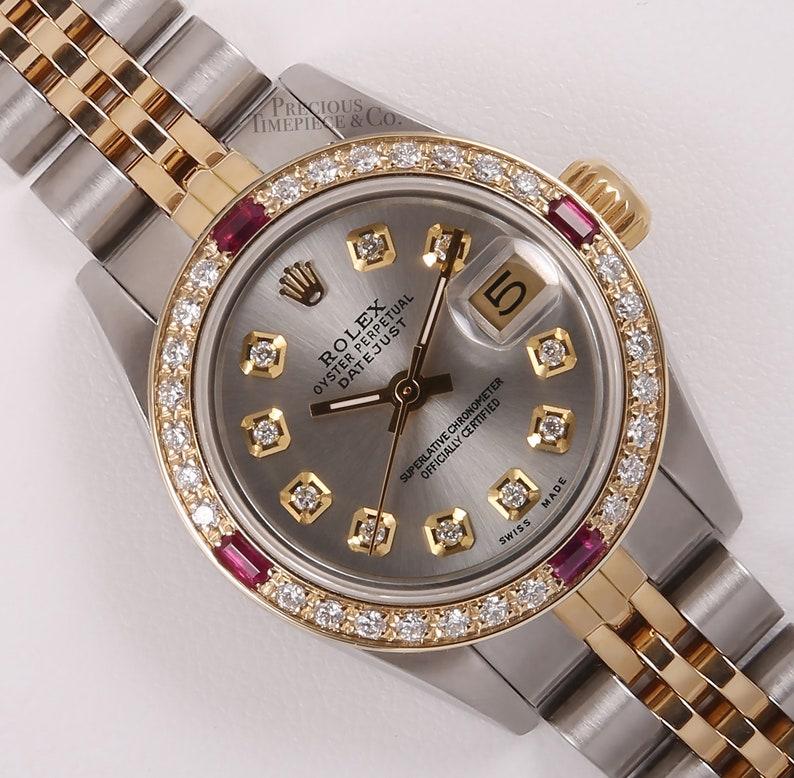 Rolex Lady Datejust 18k 2 Tone 26mm Watch Gray Diamond Dial Ruby Diamond Bezel