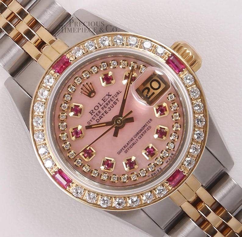 Rolex Lady Datejust Two Tone 26mm Watch Pink Mop Ruby Diamond Dial Ruby Diamond Bezel