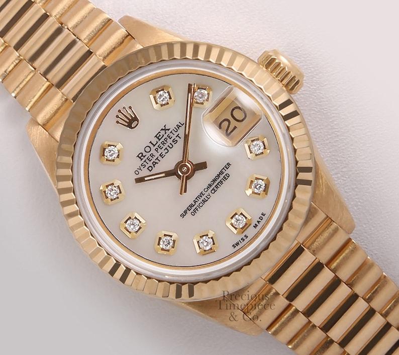 Rolex Lady President 18k Gold 26mm Watch White Mop Diamond Dial 18k Fluted Bezel