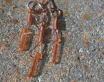 Three Tiered Orange Aura Quartz Crystal Chandelier Pendant Wrapped in Copper Wire