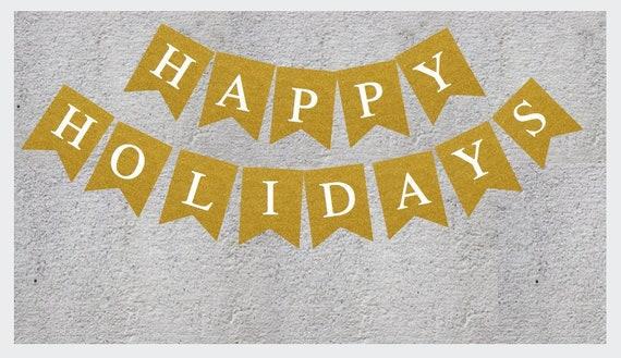 0f7c3920342 Glitter Printable Happy Holidays Banner Gold Glitter | Etsy