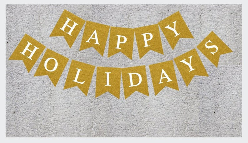 photograph about Happy Holidays Banner Printable known as Glitter Printable Satisfied Vacations Banner Gold Glitter Vacations Banner  Quick Down load