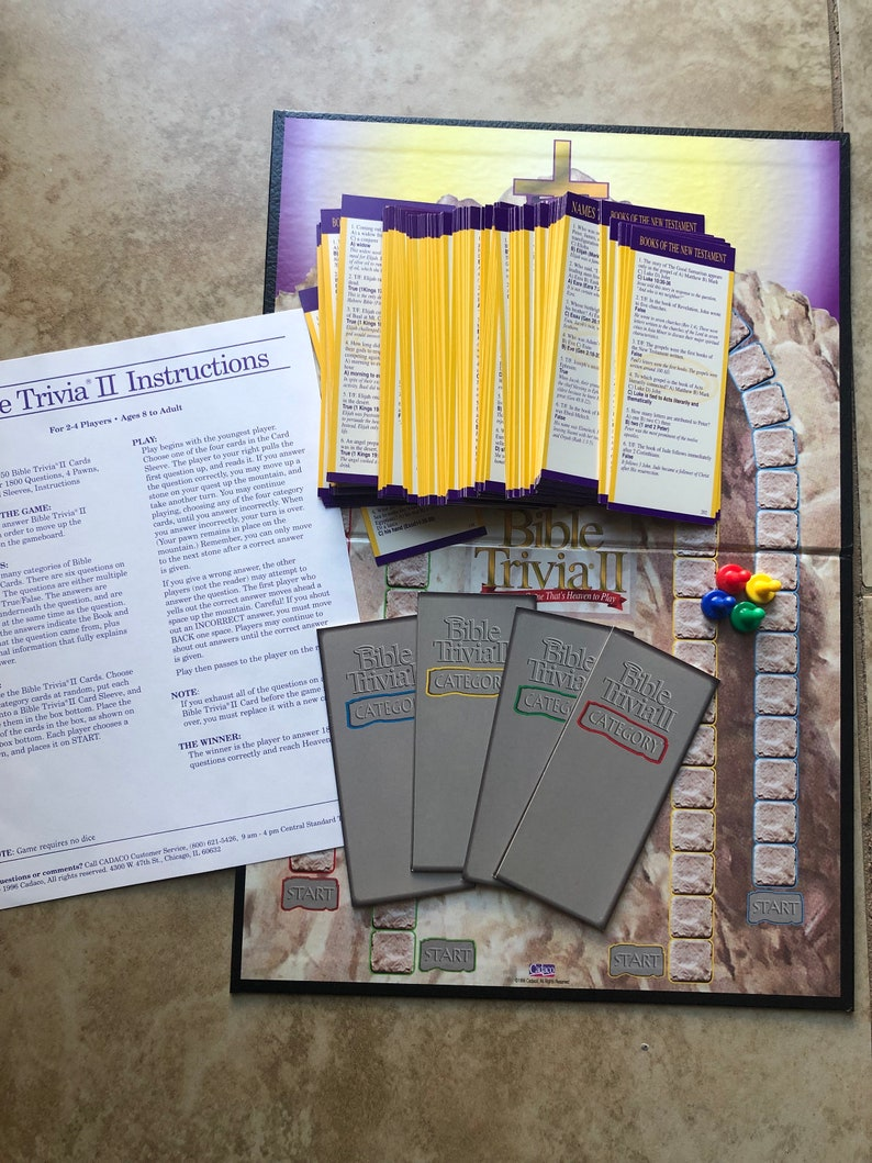 Bible Trivia II The Trivia Game That's Heaven To Play Cadaco 1996