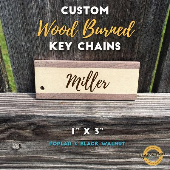 Custom Handmade Wood Burned Wooden Keychains Mixed Wood Materials Black Walnut Poplar