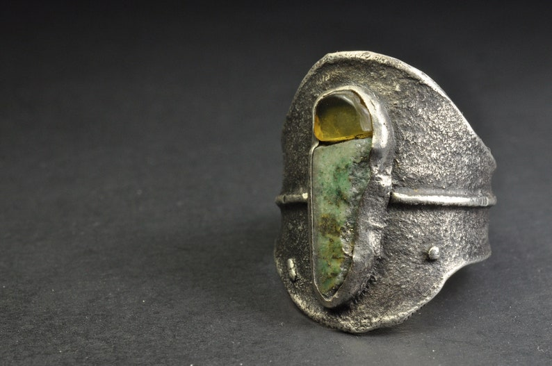 Sterling Silver Organic Style Textured Classical Handmade Multiple Raw Stone,Mexican Amber and Canadian Serpentine