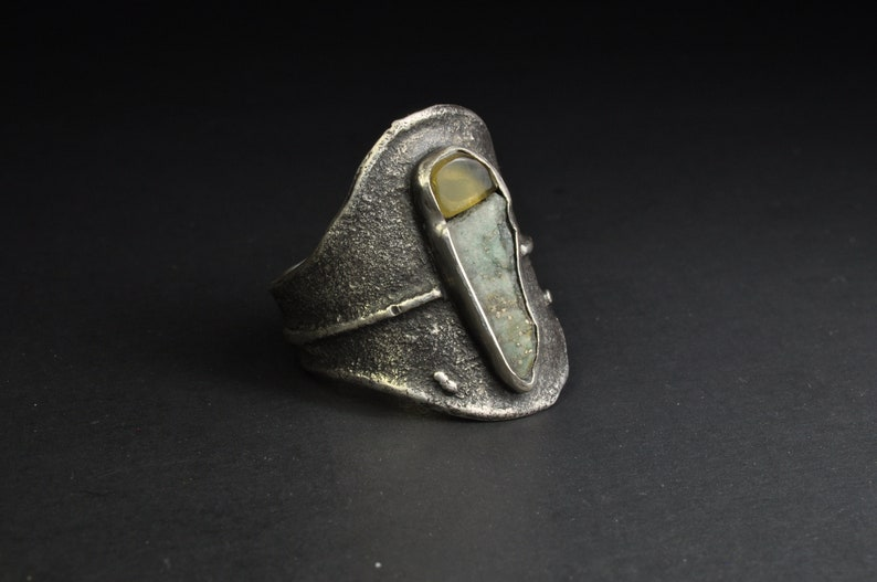 Classical Sterling Silver Textured Multiple Raw Stone,Mexican Amber and Canadian Serpentine Handmade Organic Style