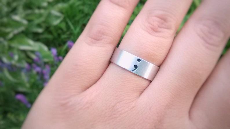 Semicolon Inspirational Silver Adjustable Ring  Semicolon jewelry