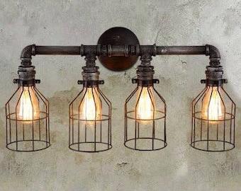 Four Light Vanity Light Fixture Industrial Rustic Loft Steampunk. Brass Cage .